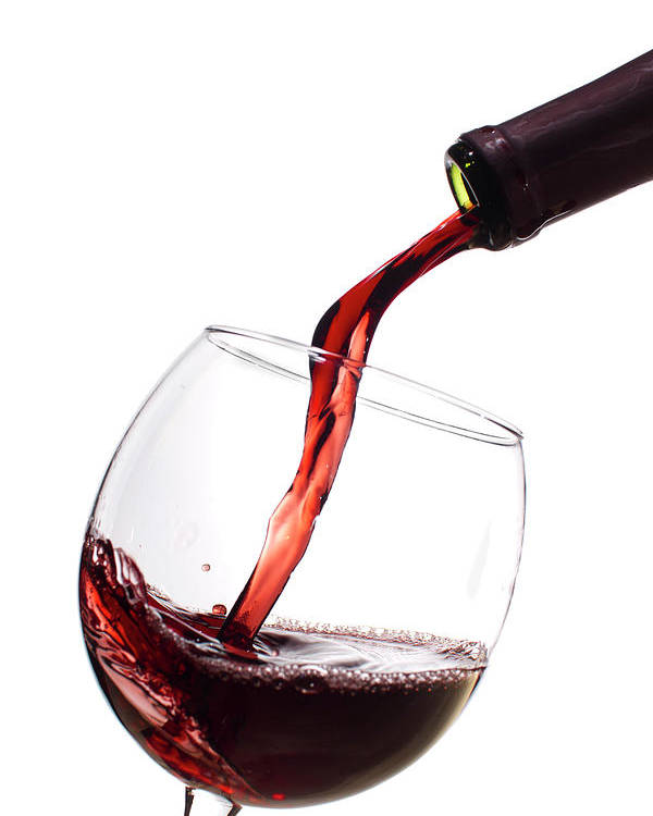 Red Wine Poster featuring the photograph Red Wine Poured Into Wineglass by Dustin K Ryan