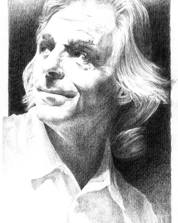 Rick Wright Poster featuring the drawing Rick Wright Of Pink Floyd by Liz Molnar