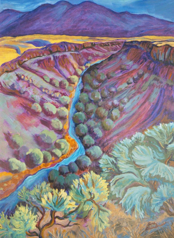 New Mexico Poster featuring the painting Rio Grande In September by Gina Grundemann