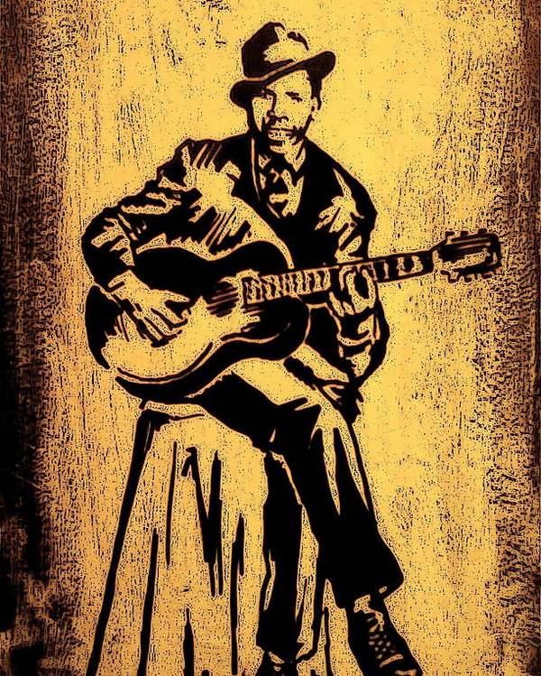 Musicians Poster featuring the painting Robert Johnson by Jeff DOttavio