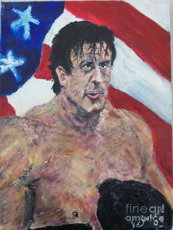 Stallone Poster featuring the painting Rocky by Francis Bourque