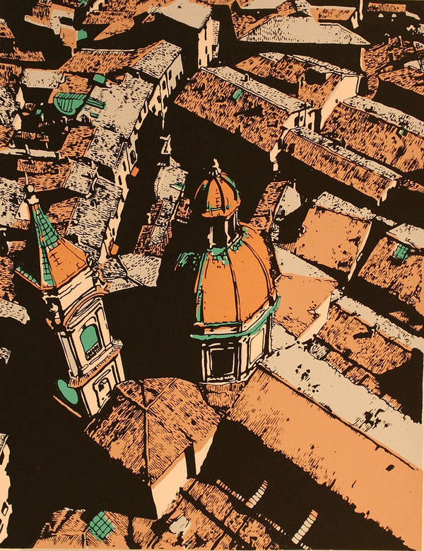 Poster featuring the print Roofs of Bologna by Biagio Civale