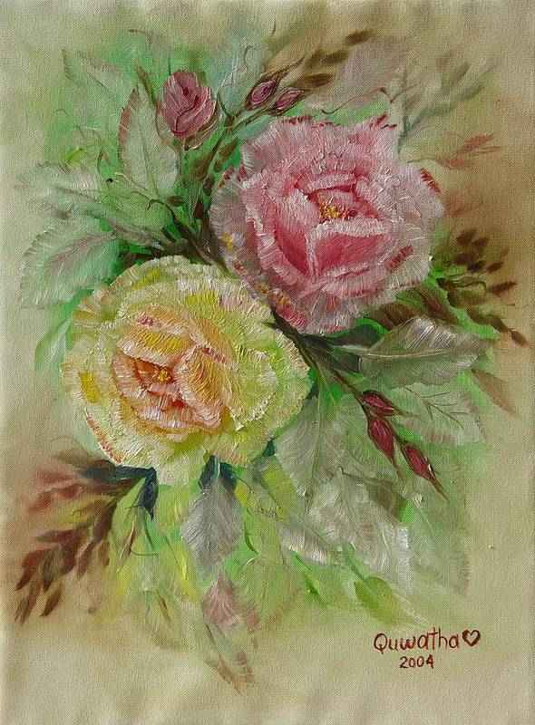 Roses Poster featuring the painting Roses by Quwatha Valentine