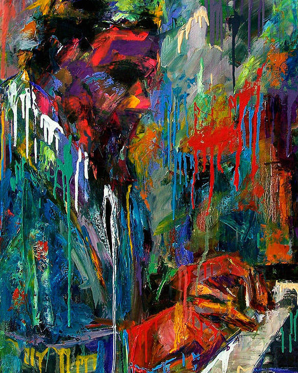 Painting Poster featuring the painting Round Midnight by Debra Hurd
