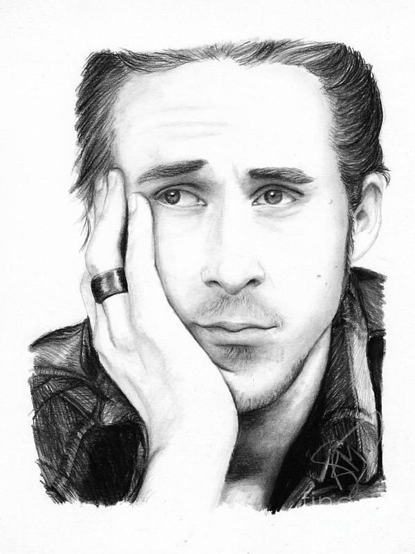 Ryan Gosling Poster featuring the drawing Ryan Gosling by Rosalinda Markle