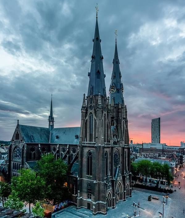 Catherinaplein Poster featuring the photograph Saint Catherina Church In Eindhoven by Semmick Photo