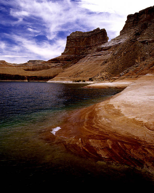 Photography Poster featuring the photograph Sandstone Shoreline And Cliffs Lake Powell by Tom Fant