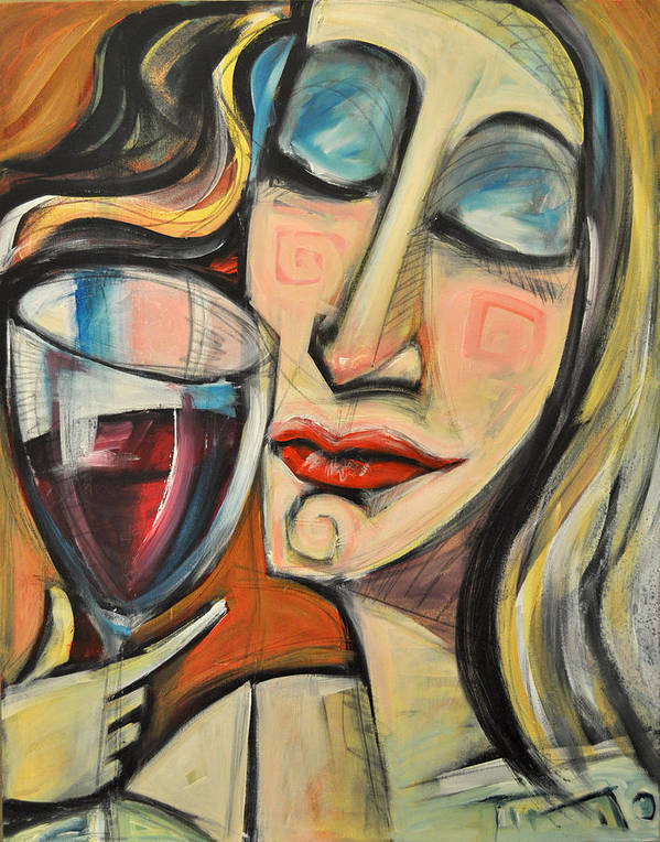 Wine Poster featuring the painting Savoring The First Sip by Tim Nyberg