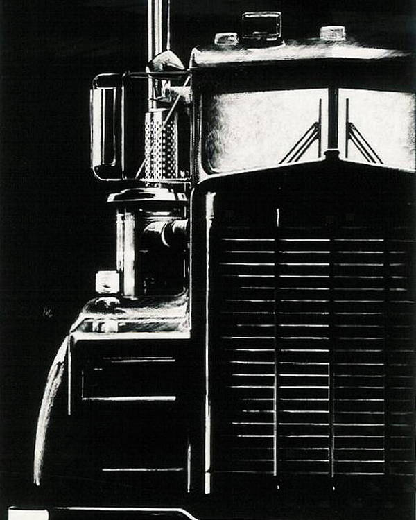 Vehicle Poster featuring the drawing Semi by Barbara Keith