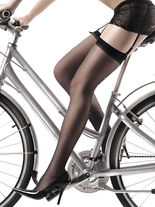 Legs Poster featuring the photograph Sexy Woman Riding A Bike by Oleksiy Maksymenko