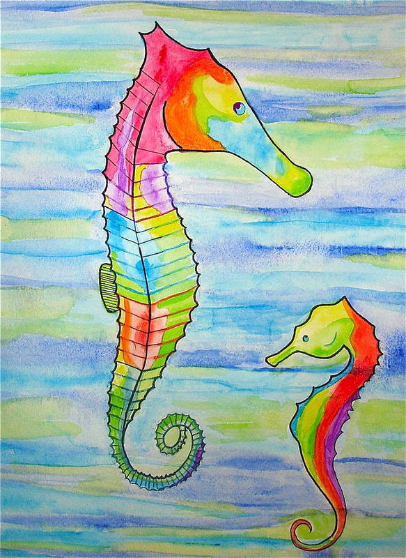 Seahorses Poster featuring the painting Shave-ice Seahorses by Erika Swartzkopf