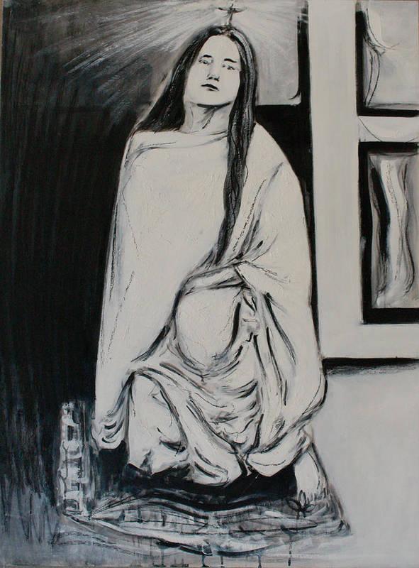 Sri Anandamayi Ma Poster featuring the painting Sri Anandamayi Ma by Alexander Carletti