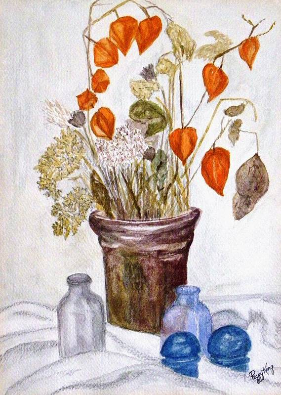 Still Life Poster featuring the painting Still Life with Chinese Lanterns by Peggy King