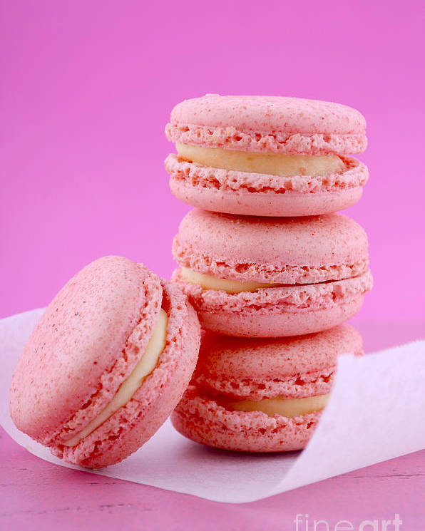 Bake Poster featuring the photograph Strawberry Flavor Macaroons by Milleflore Images