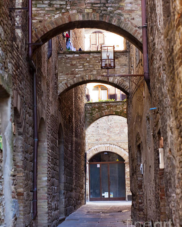Ancient Poster featuring the photograph Streets Of San Gimignano by Andre Goncalves
