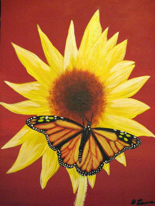 Sunflower Poster featuring the painting Sunflower Monarch by Debbie Levene