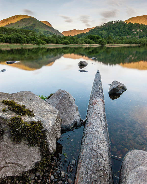 Landscape Poster featuring the photograph Sunrise at Ullswater, Lake District, North West England by Anthony Lawlor