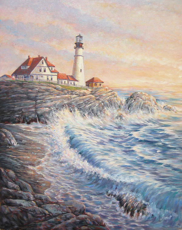 Lighthouse Poster featuring the painting Sunrise Light by Don Trout