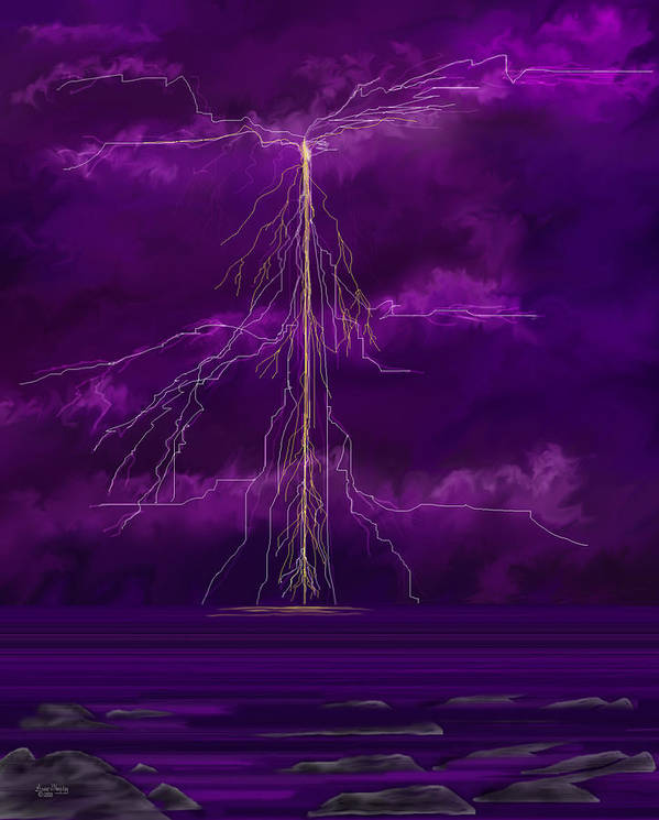 Lightning Storm Poster featuring the painting Tesla by Anne Norskog