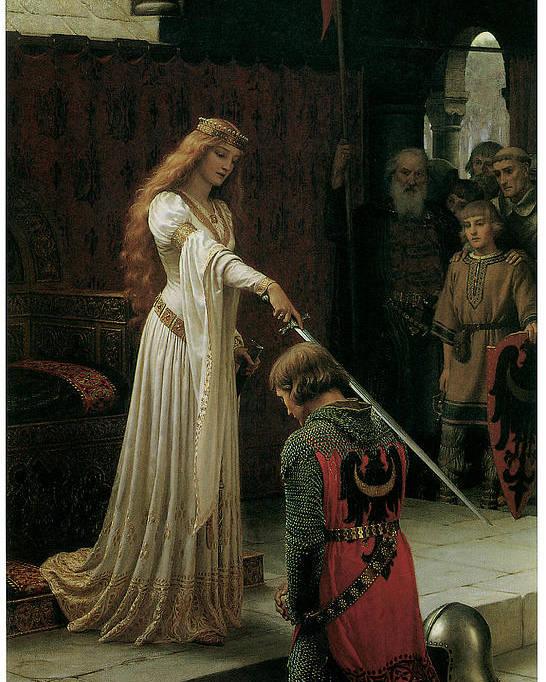 Edmund Blair Leighton Poster featuring the painting The Accolade by Edmund Blair Leighton