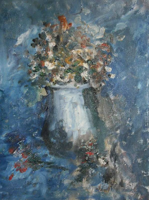 Still Life Poster featuring the painting The Blue Vase by Edward Wolverton