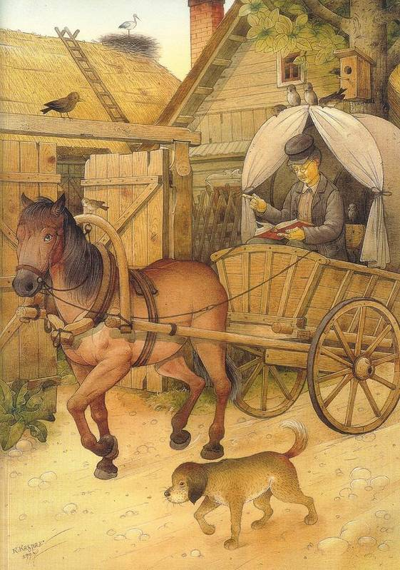 Books Horse Dog Village Brown Poster featuring the painting The Bookman by Kestutis Kasparavicius