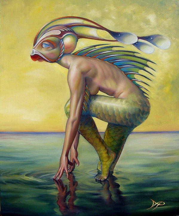 Mermaid Poster featuring the painting The Finandromorph by Patrick Anthony Pierson