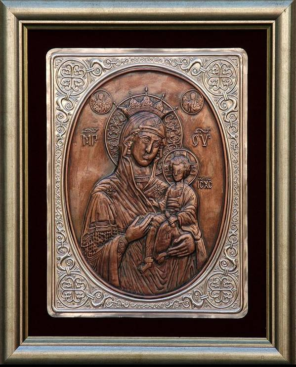 Icons Poster featuring the relief The Holly Mother With Jesus Christ by Netka Dimoska