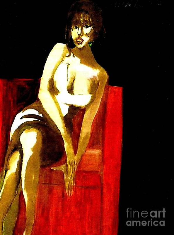Sensual Woman In Low Cut Dress Sitting In A Red Chair Poster featuring the painting The Red Chair by Harry WEISBURD