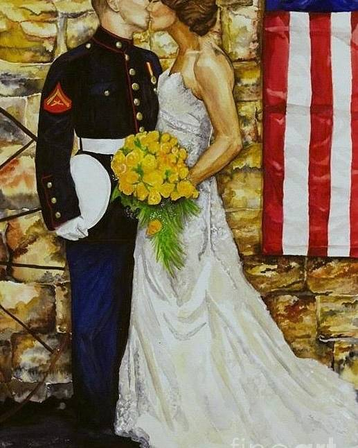 Wedding Poster featuring the painting The Wedding by Kathy Laughlin