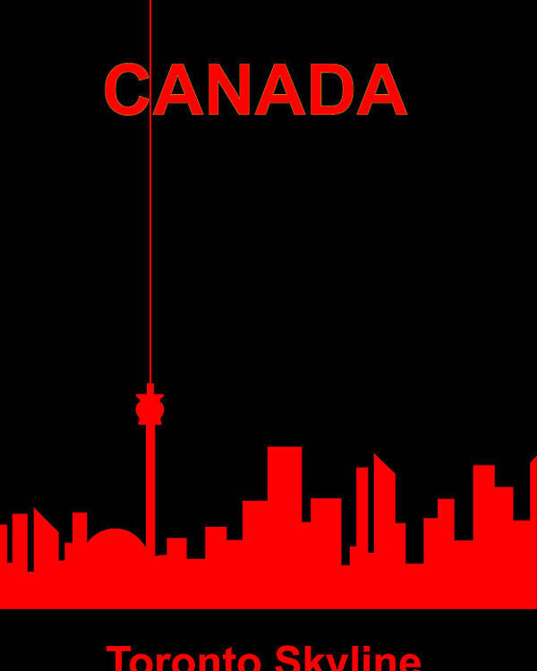 Canada Poster featuring the digital art Toronto Skyline by Asbjorn Lonvig
