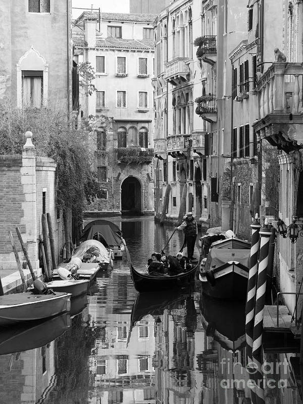 Bw Poster featuring the photograph Traditional Venetian Gondolier by Toula Mavridou-Messer
