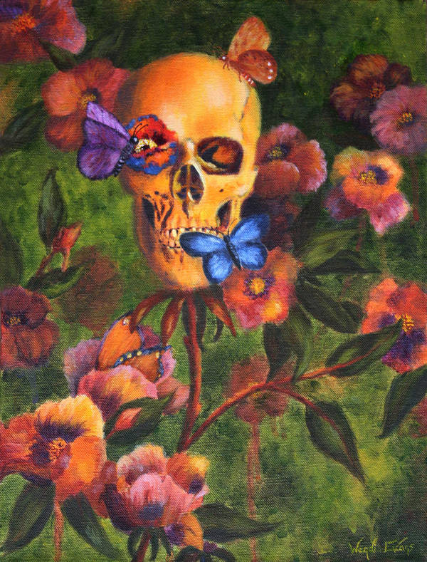 Skull Poster featuring the painting Transformation by Wendi Curtis