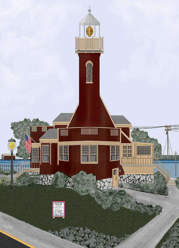 Lighthouse Poster featuring the painting Turtle Rock Lighthouse by Anne Norskog