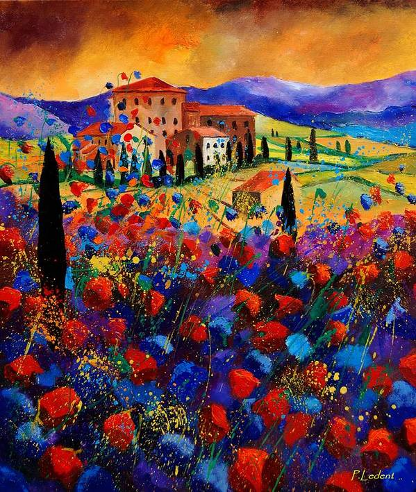 Flowers Poster featuring the painting Tuscany Poppies by Pol Ledent