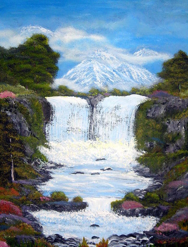 Landscapes Paintings Poster featuring the painting Twin Falls by Allison Prior