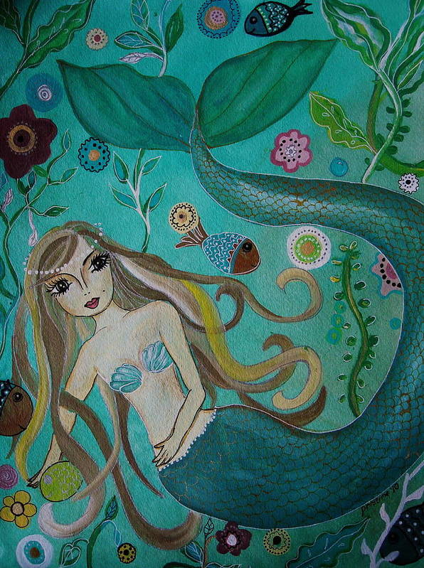 Mermaid Poster featuring the painting Under The Sea by Pristine Cartera Turkus