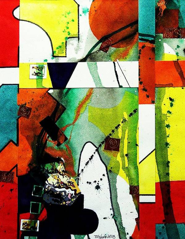 Mixed Media Poster featuring the painting Untitled Abstract by Tom Herrin