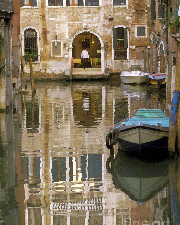 Boats Poster featuring the photograph Venice Restaurant On A Canal by Gordon Wood