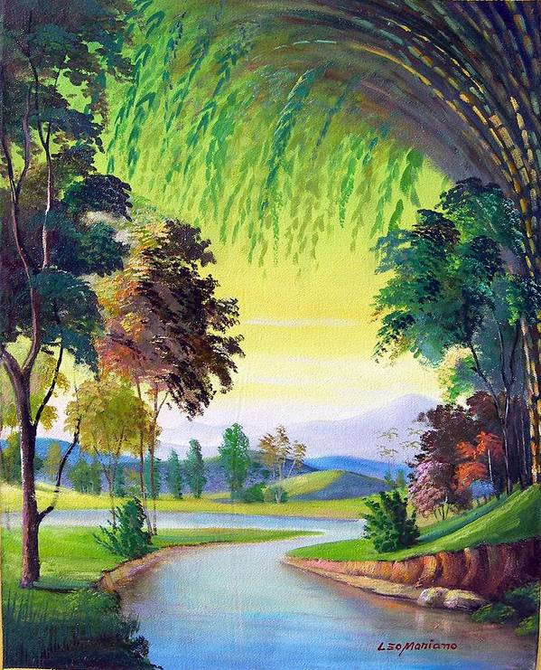 Landscape Poster featuring the painting Verde Que Te Quero Verde by Leomariano artist BRASIL