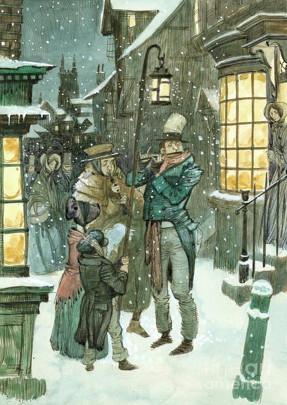 Christmas Scene.Victorian Christmas Scene Poster