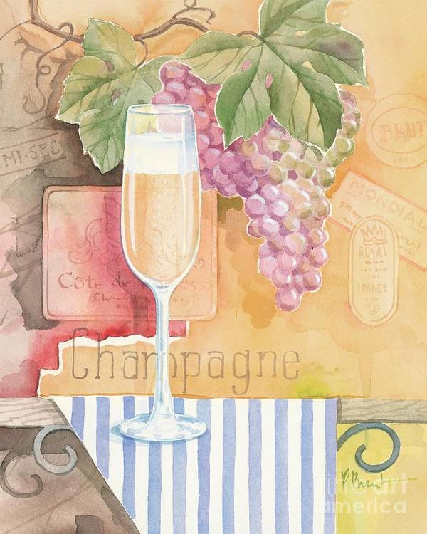 Vintage Poster featuring the painting Vintage Champagne by Paul Brent