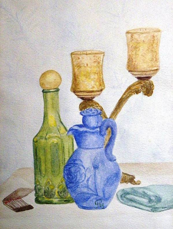 Still Life Painting Poster featuring the painting Waiting For The Bath by Peggy King