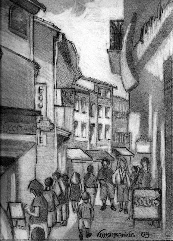 Provence Poster featuring the drawing Walking And Shopping by Kostas Koutsoukanidis