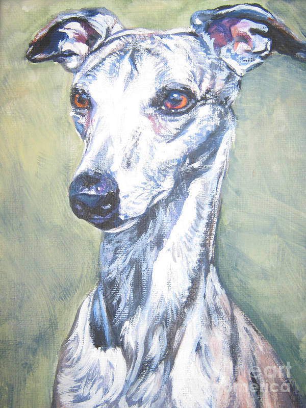 Whippet Poster featuring the painting Whippet by Lee Ann Shepard