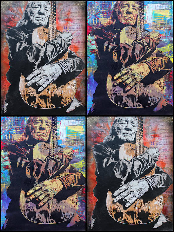 Guitar Poster featuring the painting Willie Nelson by Josh Cardinali