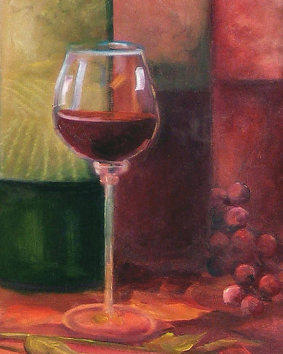 Wine Poster featuring the painting Wine Glass by Gail Salitui