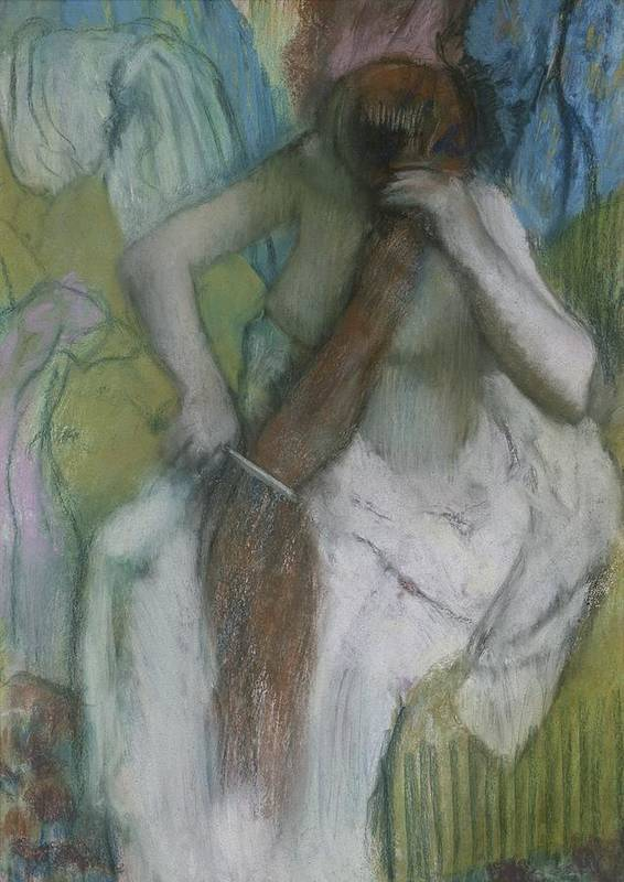 Female Poster featuring the pastel Woman Combing Her Hair by Edgar Degas