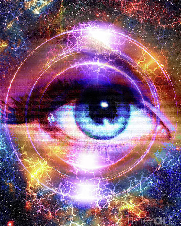 Woman Eye And Cosmic Space With Stars And Circle Light Flah In Space Abstract Color Background Eye Contact 1 Poster