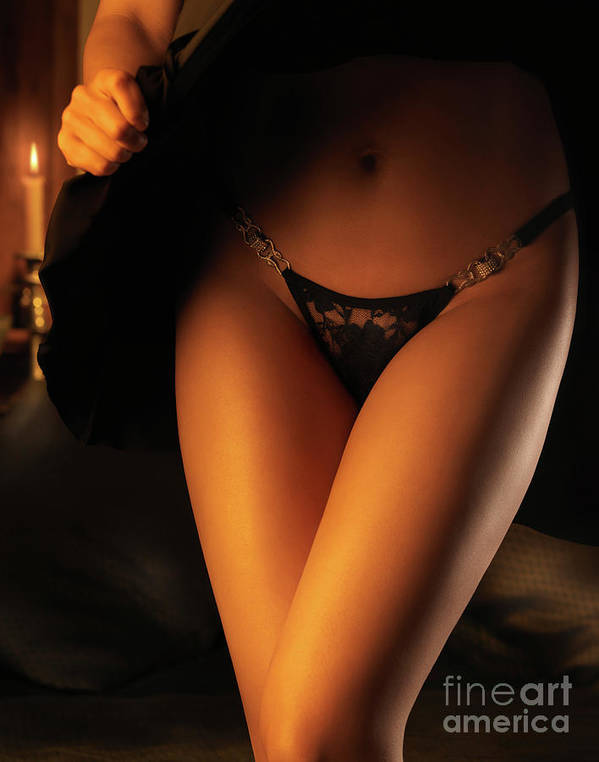 Lingerie Poster featuring the photograph Woman Wearing Black Lacy Panties by Oleksiy Maksymenko